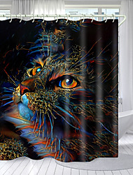 cheap -Photo Cat And Tiger Digital Printing Shower Curtain Shower Curtains Hooks Modern Polyester New Design