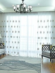 cheap -Two Panel Nordic Style Lucky Jinbao Embroidered Window Screen Living Room Bedroom Dining Room Study Translucent Tulle