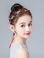 cheap -Kids Baby Girls' Hair Take The Lead In Flower Children's Princess Hair Accessories Earrings Set Hanfu Headdress Ancient Style Birthday Dance Performance Red