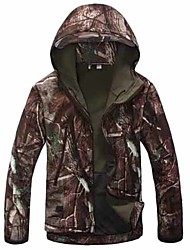 cheap -Men's Hoodie Camouflage Hunting Jacket Soft Shell Military Tactical Jacket Outdoor Thermal Warm Windproof Breathable Quick Dry Winter Camo / Camouflage Winter Jacket Coat Top Fleece Nylon