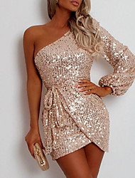 cheap -Women's Sheath Dress Short Mini Dress Champagne Sleeveless Solid Color Sequins Spring Summer One Shoulder Party Stylish Casual / Daily Club Slim 2021 S M L XL XXL