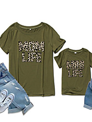 cheap -Mommy and Me Family Matching Outfits Blouse Daily Wear Leopard Letter Short Sleeve Print Army Green Summer