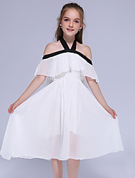 cheap -Kids Little Girls' Dress Solid Colored Holiday Black Midi Sweet Dresses Summer Regular Fit 3-13 Years