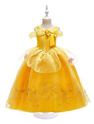 cheap -Kids Little Girls' Dress Flower Bow Print Yellow Knee-length Sleeveless Active Dresses Summer Regular Fit 3-10 Years
