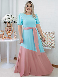 cheap -european and american plus size women's stitching contrast color matching straps casual dress long skirt cross-border asia sell 2021 new