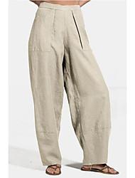 cheap -Women's Basic Soft Comfort Lightweight Chinos Linen / Cotton Blend Loose Home Weekend Pants Plain Full Length Pocket Elastic Waist Green Light Green Beige Dark Blue