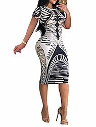 cheap -Women's Sheath Dress Knee Length Dress 1874-10 multicolor 1874-1 black 1874-2 pink 1874-4 white 1874-5 Sky Blue 1874-6 blue 1874-7 red 1874-3 dark blue Long Sleeve Pattern Spring & Summer Casual 2021