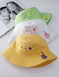 cheap -1pcs Kids / Toddler Unisex Sweet Birthday / Casual / Daily Wear Cartoon / Letter Stylish Cotton Hats & Caps Black / Yellow / Green S