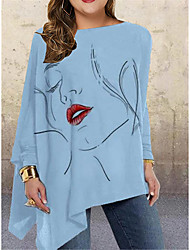 cheap -Women's Plus Size Tops Blouse Graphic Prints Large Size Round Neck Long Sleeve Big Size