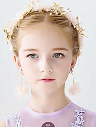 cheap -Kids Baby Girls' European Style Bridal Headband Photo Studio Handmade Wedding Headband Pearl Dried Flower Hair Comb Jewelry Wedding Head Flower Hair Accessories