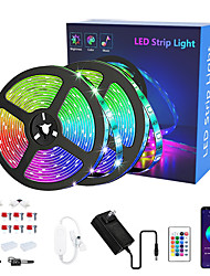 cheap -LED Strip Lights RGB APP Smart Set LED Lights for Bedroom 10M 15M RGB Bluetooth Strip Lights 5050 SMD 44Keys Remote Controller Bluetooth Connector Bedroom New Year Television Decorating
