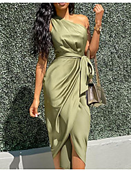 cheap -Women's Wrap Dress Midi Dress Army Green Sleeveless Solid Color Spring & Summer One Shoulder Hot Sexy 2021 S M L XL