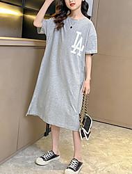 cheap -Kids Little Girls' Dress Letter Causal Print White Black Gray Midi Short Sleeve Casual Dresses Summer Loose 3-13 Years