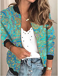 cheap -Women's Jackets Floral Print Sporty Spring &  Fall Jacket Regular Daily Long Sleeve Air Layer Fabric Coat Tops Blue