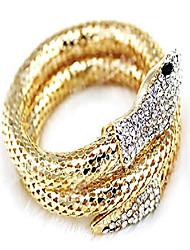 cheap -eiffy punk rhinestone curved stretch snake animal cuff bangle bracelet for women ladies wristband jewelry (gold)