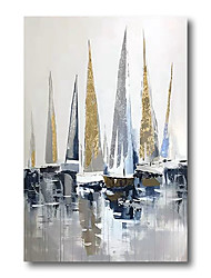 cheap -Oil Painting Hand Painted Canvas Abstract Comtemporary Modern High Quality Sailboats Seascape Art Deco (no frame)