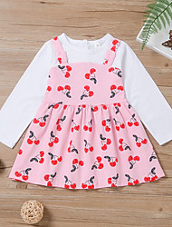 cheap -Kids Little Girls' Dress Graphic Print Blushing Pink Knee-length Long Sleeve Active Dresses Summer Regular Fit 2-6 Years