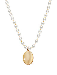 cheap -Women's Necklace Pearl Necklace Beads Drop Simple Fashion Classic Trendy Imitation Pearl Alloy Gold 40 cm Necklace Jewelry 1pc For Party Evening Street Gift Birthday Party / Charm Necklace