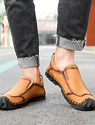 cheap -Men's Loafers & Slip-Ons Crochet Leather Shoes Comfort Loafers Sporty Casual Classic Daily Outdoor Walking Shoes Trail Running Shoes Nappa Leather Cowhide Breathable Handmade Non-slipping Booties
