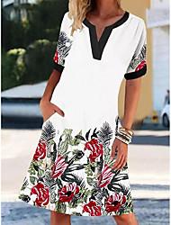 cheap -2021 europe and america amazon aliexpress new v-neck short-sleeved retro printed dress women's elegant lady dress