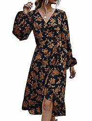 cheap -Women's Swing Dress Knee Length Dress Black Long Sleeve Solid Color Fall Winter Casual / Daily 2021 S M L XL / Cotton / Cotton