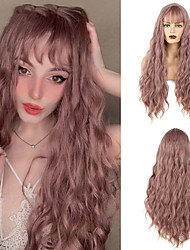 cheap -Long Mix Pink Brown Womens Wigs With Bangs Heat Resistant Synthetic Kinky Curly Wigs for Women African American