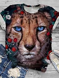 cheap -Women's Plus Size Tops T shirt Graphic Leopard Animal Print Short Sleeve Crewneck Basic Black Big Size XL XXL 3XL 4XL 5XL