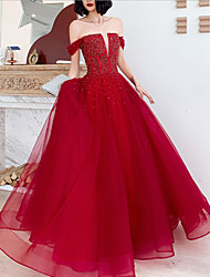 cheap -A-Line Luxurious Sexy Engagement Formal Evening Dress Off Shoulder Sleeveless Floor Length Tulle with Beading 2021