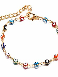 cheap -gold dainty evil eye bracelets for women,14k gold blue evil eye copper chain bracelets for teen girls(colorful)