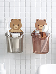 cheap -1 Pieces Wall-mounted Bear Toothbrush Cup Holder Free Punching Cup Bathroom Accessories Organizer Wall Sticker Hanging Brush Holder