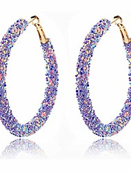 cheap -sequins hoop earrings for women girls handmade bohemian glitter wrapped gold plated dangle drop earring circle sequin statement earrings boho jewelry (purple)