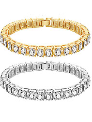 cheap -Tennis Bracelet Single Strand Birthday Casual / Sporty Alloy Bracelet Jewelry Gold / Silver For Festival