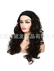 cheap -european and american wig female hair chemical fiber high temperature silk ice silk hair with turban long curly hair body big wave wholesale custom