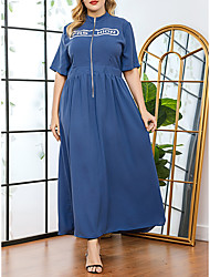 cheap -Women's Plus Size Dresses A Line Dress Maxi long Dress Short Sleeve Print Turtleneck Casual Spring & Summer Blue L XL XXL 3XL / Cotton / Cotton