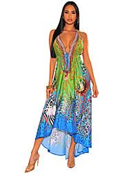 cheap -Women's Strap Dress Maxi long Dress zebra Red Leopard Snake skin Blue Leopard Sleeveless Pattern Spring & Summer Casual 2021 S M L XL
