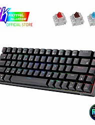 cheap -rk837 wired bluetooth 2.4g mechanical keyboard tablet phone three-mode hot-swappable 68-key green tea cherry axis
