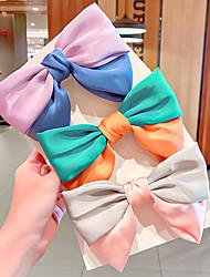 cheap -Kids Baby Girls' New Hit Color Bow Hairpin Back Head Spring Clip Girl Heart Sweet Hair Card Satin Clip Hair Accessory