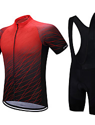 cheap -FUALRNY® Men's Short Sleeve Cycling Jersey with Bib Shorts Black / Red Blue Orange Gradient Bike Quick Dry Sports Gradient Mountain Bike MTB Road Bike Cycling Clothing Apparel / Stretchy / Advanced