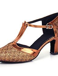 abordables -Mujer Zapatos de Baile Moderno Salón Baile en línea Tacones Alto Corte Tacón Cubano Gris-plata Negro y Oro Morado / Rendimiento / Entrenamiento