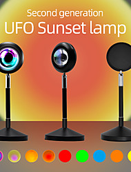 cheap -Sunset Projection Lamp Romantic Rainbow Light Rgb 16 Colors Changing 180° Rotation Network Red Light Mood Lighting Lamp With Remote Control Usb Plug for Room Bedroom
