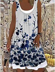 cheap -Women's Shift Dress Knee Length Dress Sleeveless Pattern Spring Summer Casual / Daily 2021 S M L XL XXL XXXL