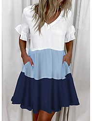 cheap -ebay cross-border source 2021 european and american summer women's fashion 3-color stitching cotton and linen v-neck short-sleeved a-line dress