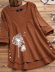 cheap -Women's Plus Size Tops Blouse Shirt Graphic Dandelion Button Long Sleeve V Neck Spring Summer Big Size XL 2XL 3XL 4XL 5XL
