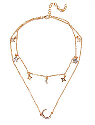 cheap -diamond star moon multilayer necklace female