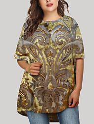 cheap -Women's Plus Size Dress T Shirt Dress Tee Dress Short Mini Dress Half Sleeve Floral Graphic Print Basic Fall Spring Summer Gold XL XXL 3XL 4XL 5XL