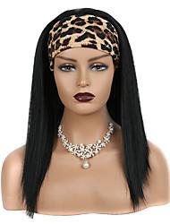 cheap -european and american wig female headscarf wig, chemical fiber long straight hair, black hair with headgear, cross-border wig mechanism hair with headgear
