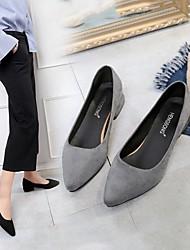 cheap -Women's Slippers & Flip-Flops Flat Heel Open Toe Suede Solid Colored Black Gray