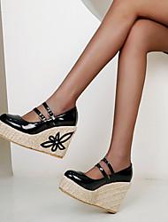cheap -Women's Heels Wedge Heel Round Toe PU Braided Almond Black