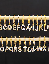 cheap -26 english alphabet earrings micro-inlaid zircon gold-plated real gold jewelry popular earrings earrings