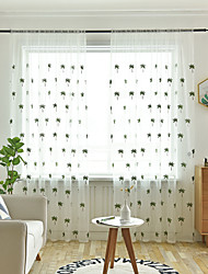 cheap -Two Panel Small Fresh Style Embroidered Window Screen Living Room Bedroom Dining Room Children's Room Translucent Tulle